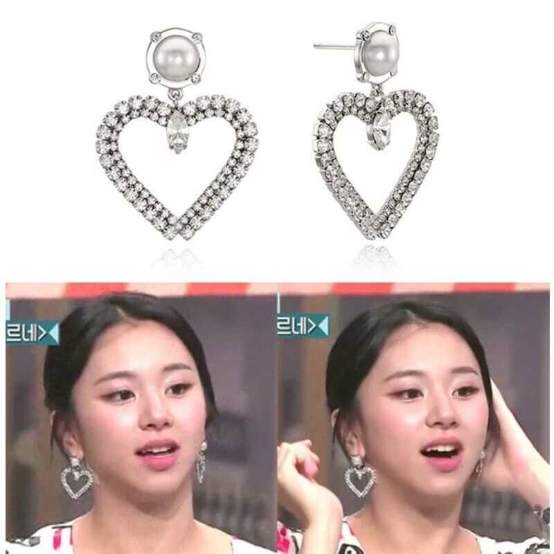 Vintage Hollywood Vintage Heart Drop Earrings K Star Chaeyoung Of Twice Earrings Heart Drop Earrings Drop Earrings