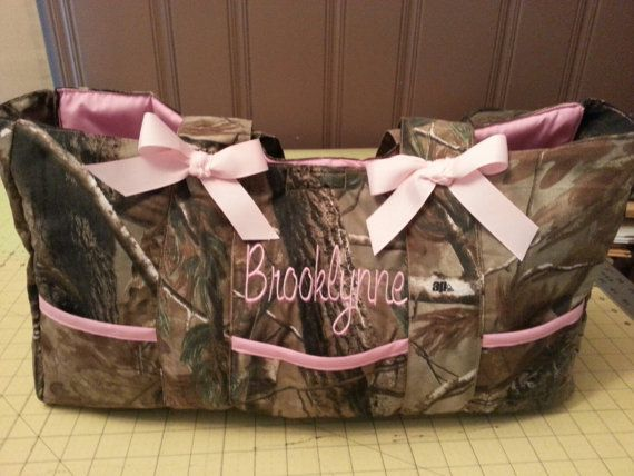Diaper Bag Camouflage Realtree White Pink Camo Custom 6 Pocket With Name Embroidered Personalized Monogrammed Washable Future Children