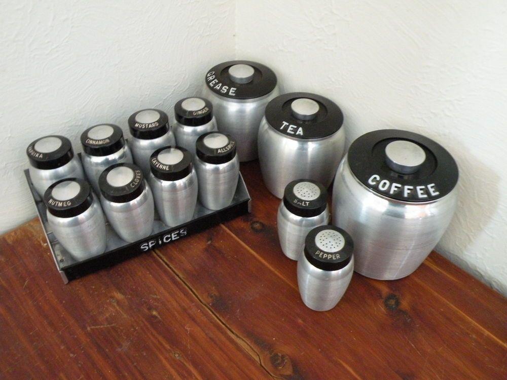 #Vtg #50s #Kromex Brushed Spun Aluminum #Canisters #SpiceRack Salt Pepper #Shakers #vintage #retro