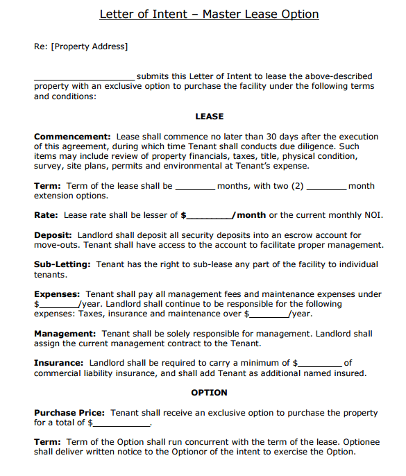 4 Letter Of Intent To Lease Templates Word Excel Templates Letter Of Intent Intentions Lettering