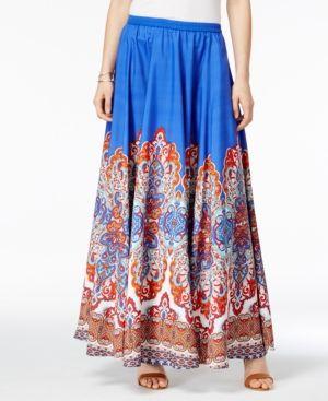 4c4764a5dc87e6 Cupio by Cable & Gauge Damask-Print Maxi Skirt - Blue Multi XS ...