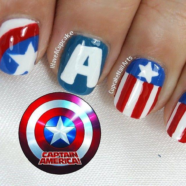 cupcakenailarts captain america #nail #nails #nailart | Gettin ...