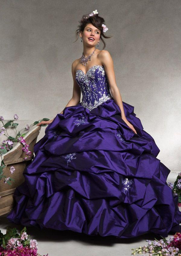 Strapless long evening dress in dark purple with full skirt, beaded ...