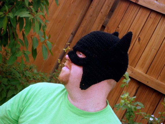 Crocheted Batman Hat with Mask. Made to Order. $23.00, via Etsy.