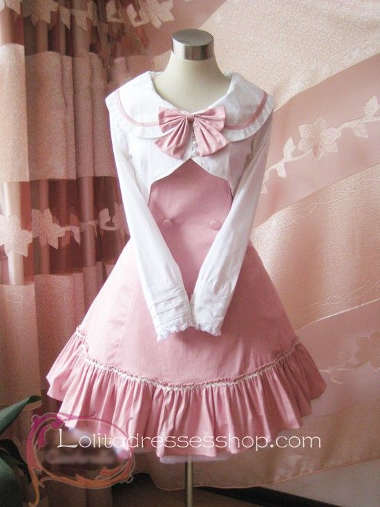 Pink College Wind Slim Bow Princess Dress. Lolita sailor dress ...