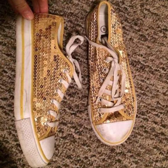 Gold like Converse Gold sequence like converse shoes! Gently worn but not missing any sequence!! Converse Shoes Sneakers
