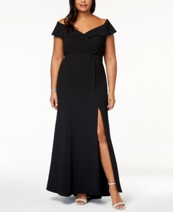 428bffbb Xscape Evenings Plus Size Off-The-Shoulder Slit Gown in 2019 ...