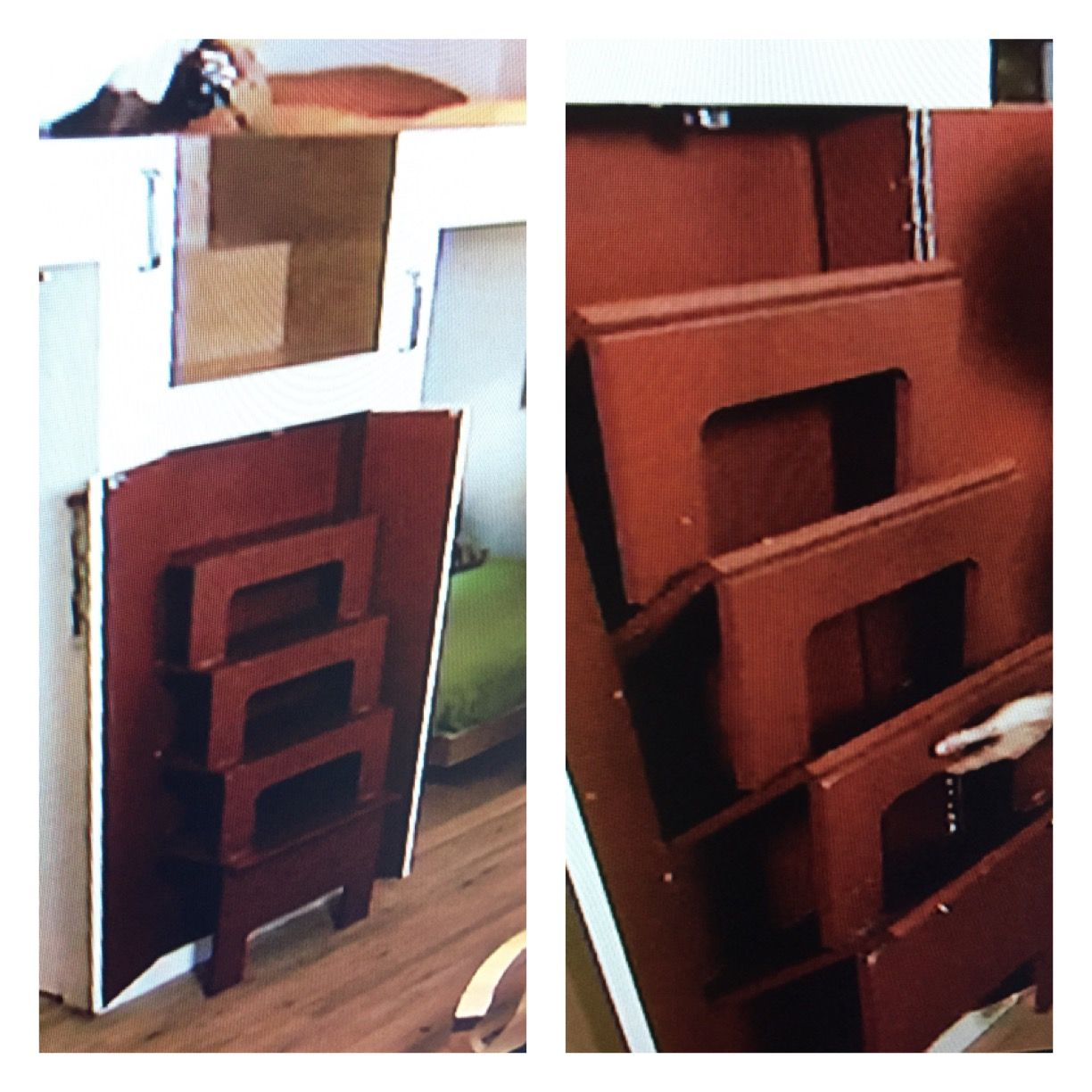 Stairs To A Loft Are Hidden In A Cabinet Then Fold Out When Needed! OMG