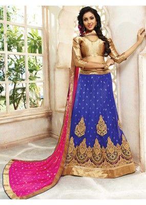 Designer Blue & Pink Net Lehenga Choli - 72791