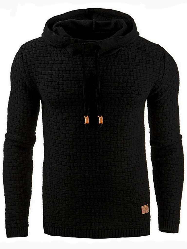 Hooded Lace-Up Pullover Slim Solid Color Men s Hoodie – hebedress.com cee93b975