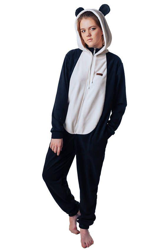 6c5a48b0323d Pajama overalls FUNKY PANDA home suit - Custom Handmade - Anti-pill Fleece  Pyjamas - Unisex costume