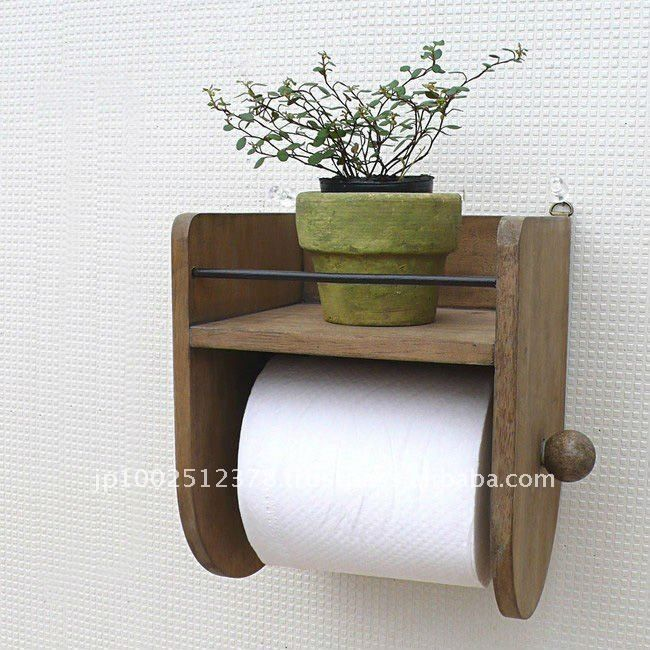 Bathroom Accessory Wooden Toilet Paper Holder