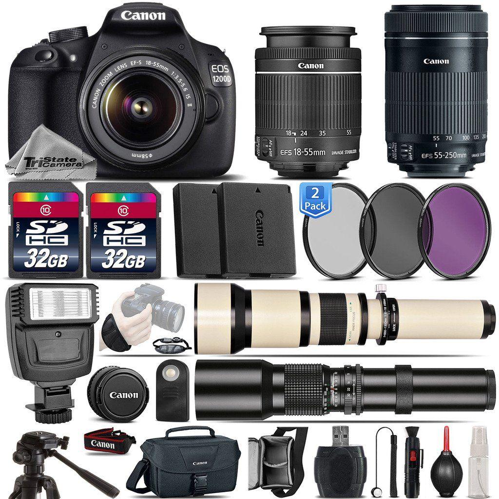 Canon Eos 1200d Digital Slr Camera 18 55mm Is Ii Lens Canon 55 250mm Is Stm Lens 650 1300mm Telephoto Lens 50 Best Digital Camera Canon Eos Dslr Camera