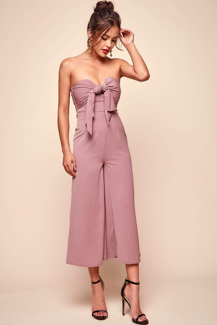 b80b2f6afde9 Khloe Bow Tie Wide Leg Jumpsuit Dusty Pink in 2019