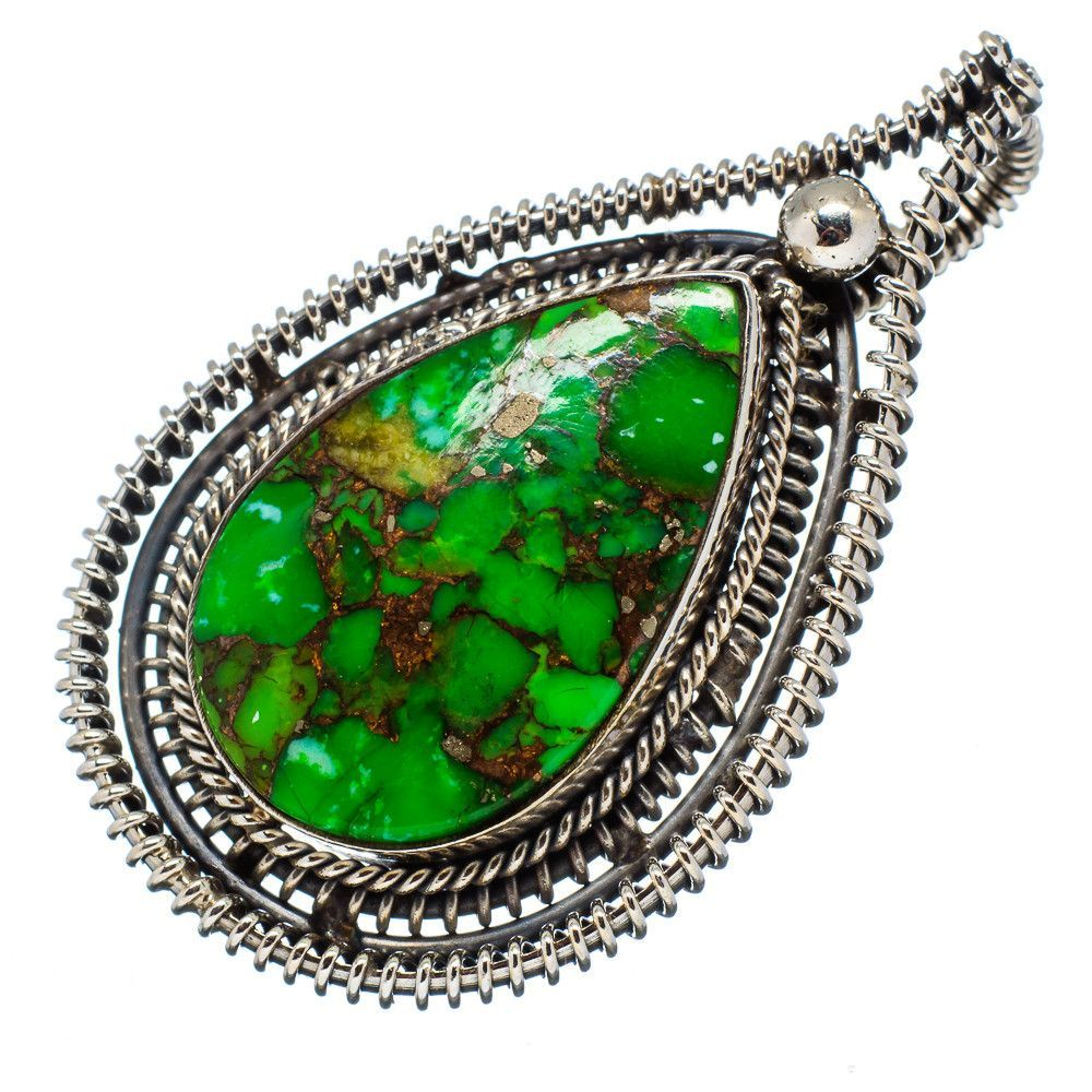 """Green Copper Composite Turquoise 925 Sterling Silver Pendant 2"""" PD554506"""