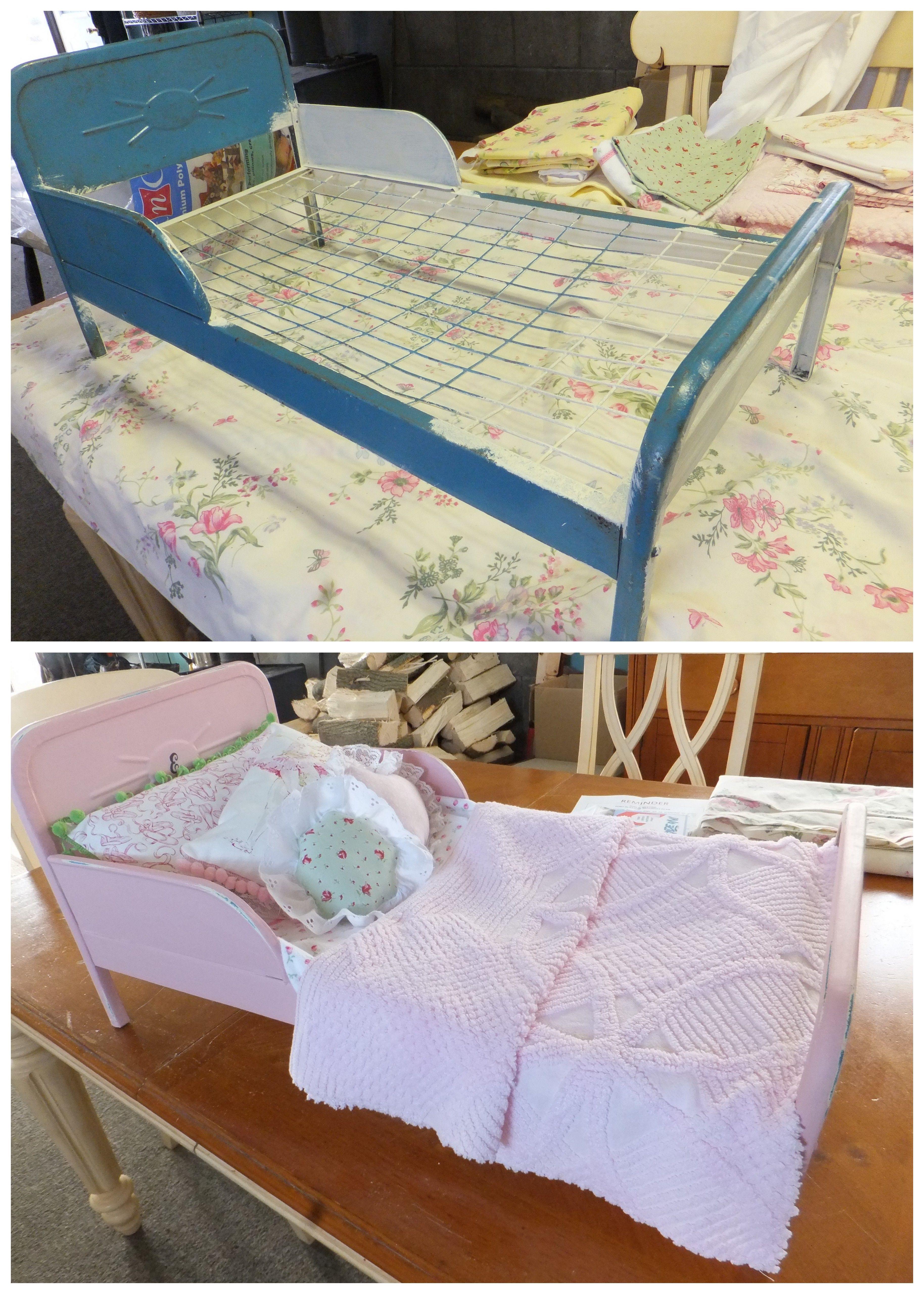 adorable vintage doll bed painted it annie sloan antoinette chalk