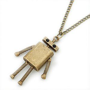 Flat Head Robot Necklace