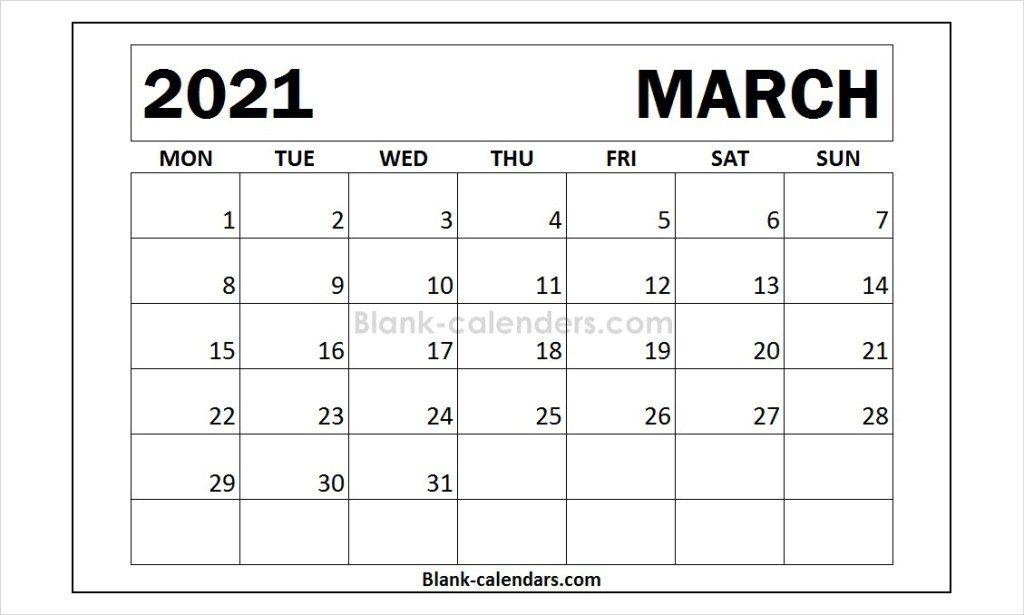 March 2021 Calendar Monday Start 2021 Calendar Calendar