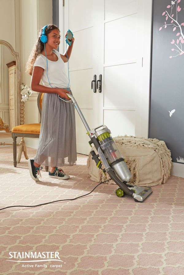 Chores made easy with Stainmaster carpet.