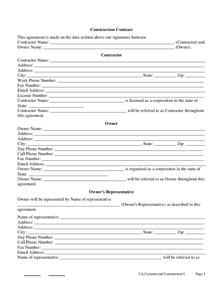 Printable Sample Construction Contract Template Form Real Estate