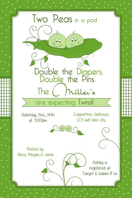 Two Peas In A Pod Baby Shower Invitation Printable