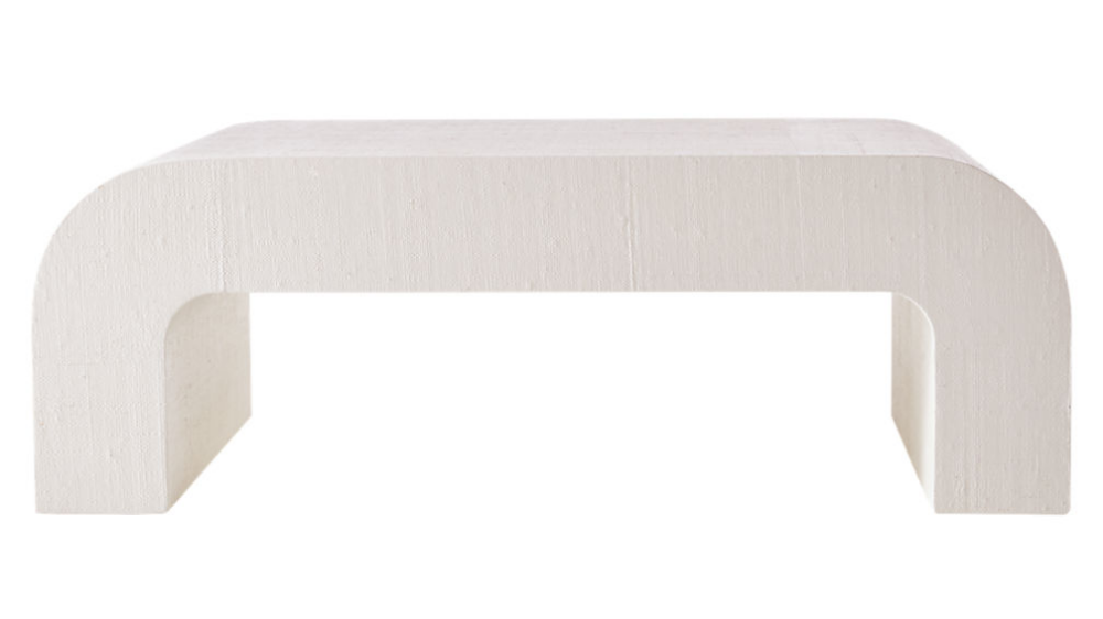 Horseshoe White Lacquered Linen Coffee Table Reviews Cb2
