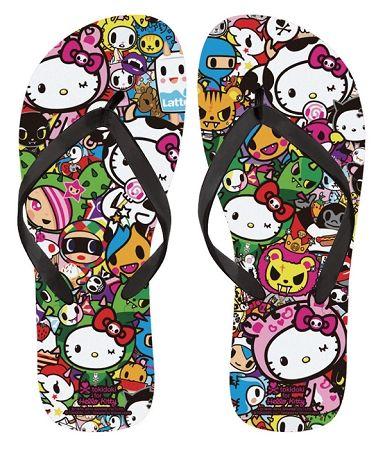 ab708ed73660 Adult Hello Kitty Flip Flops