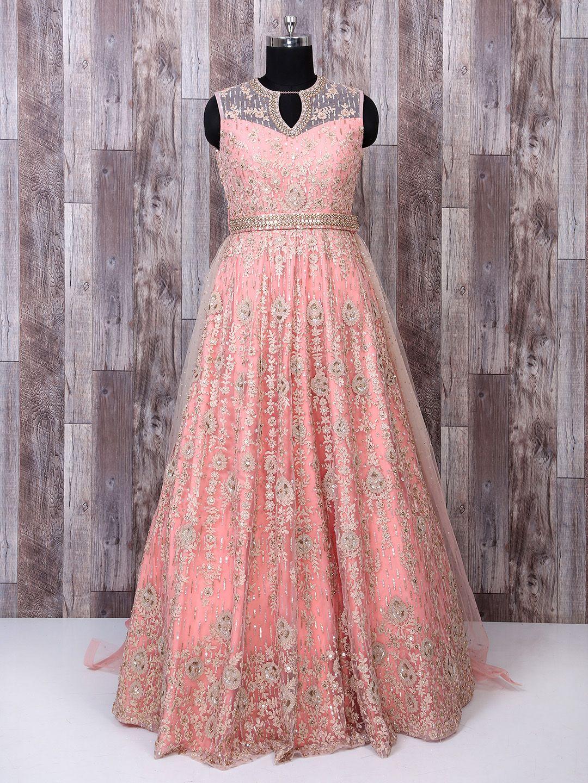Peach Color Designer Net Gown, Wedding gown, wedding wear gown, net ...