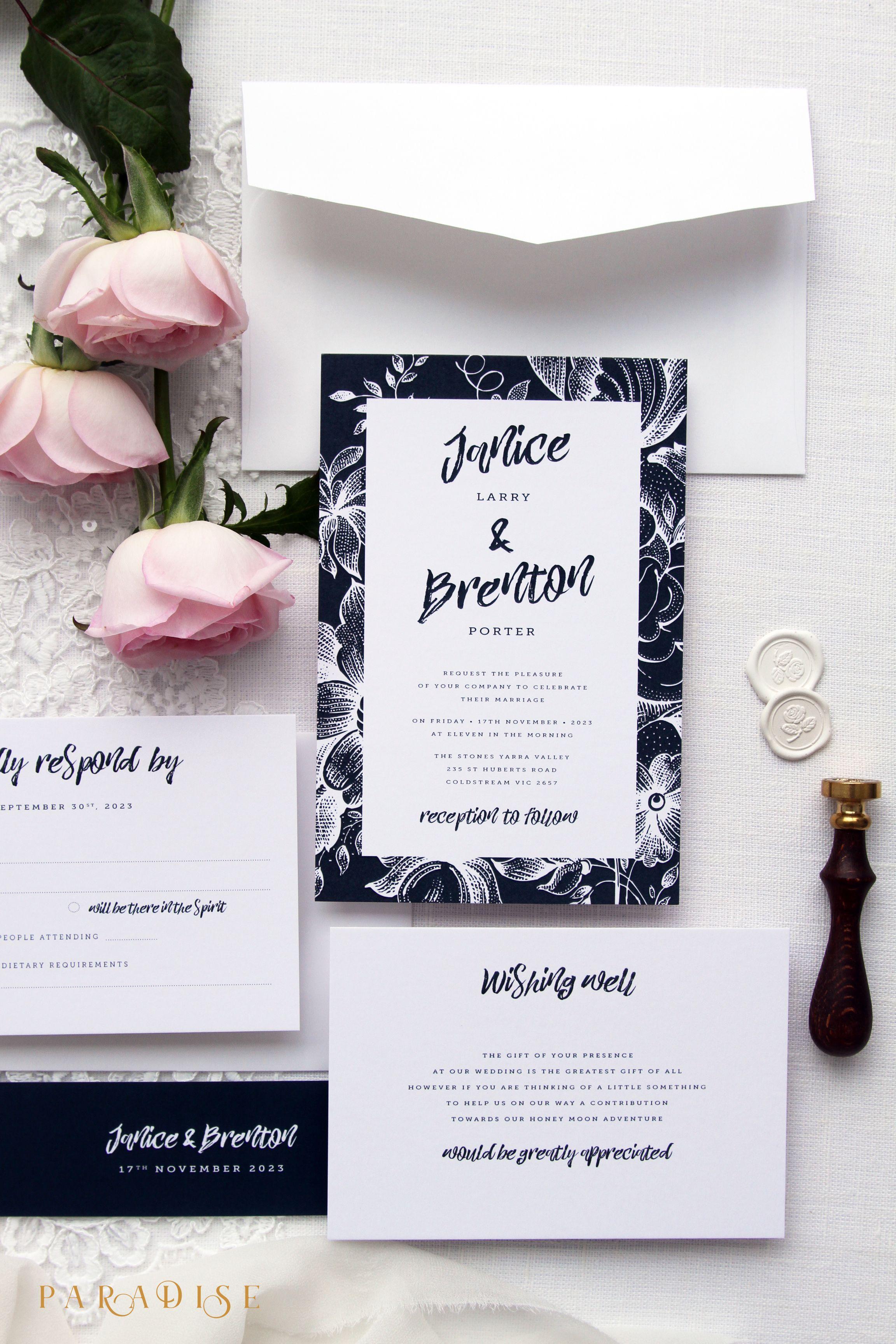 Janice Navy and White Wedding Invitation Kits, Wedding Templates or ...