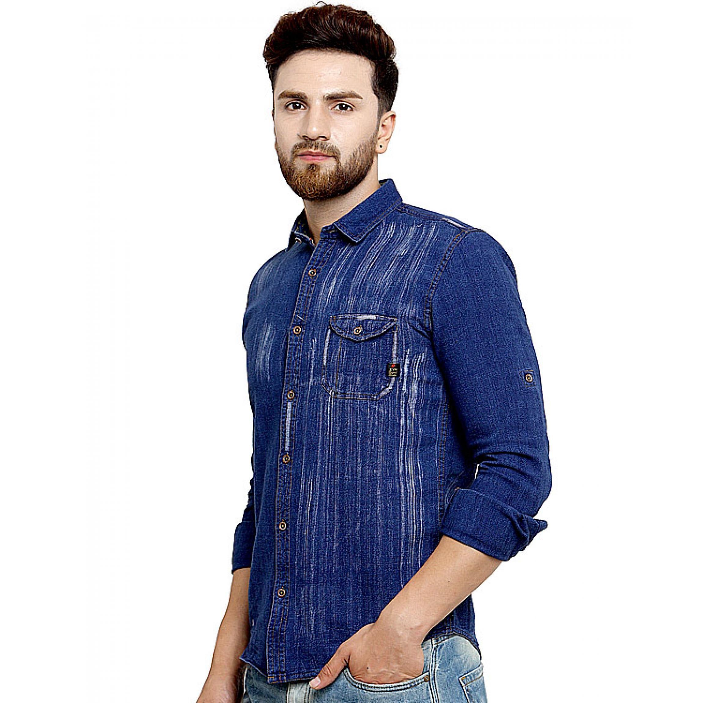 66385aedf4 Kivon Mens Casual Denim Shirt Blue – Kivon Shirts