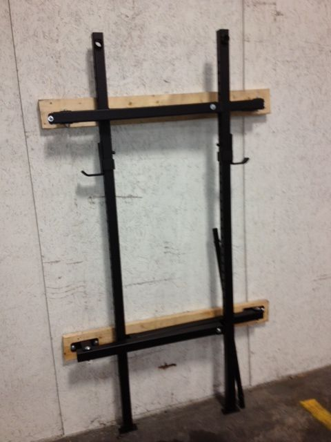 The W 1 Is A Collapsible Squat Rack With Pull Up Bar When Garage Space Is Valuable Or A Simple Wall Mount Diy Pull Up Bar Pull Up Bar Diy Clothes Drying
