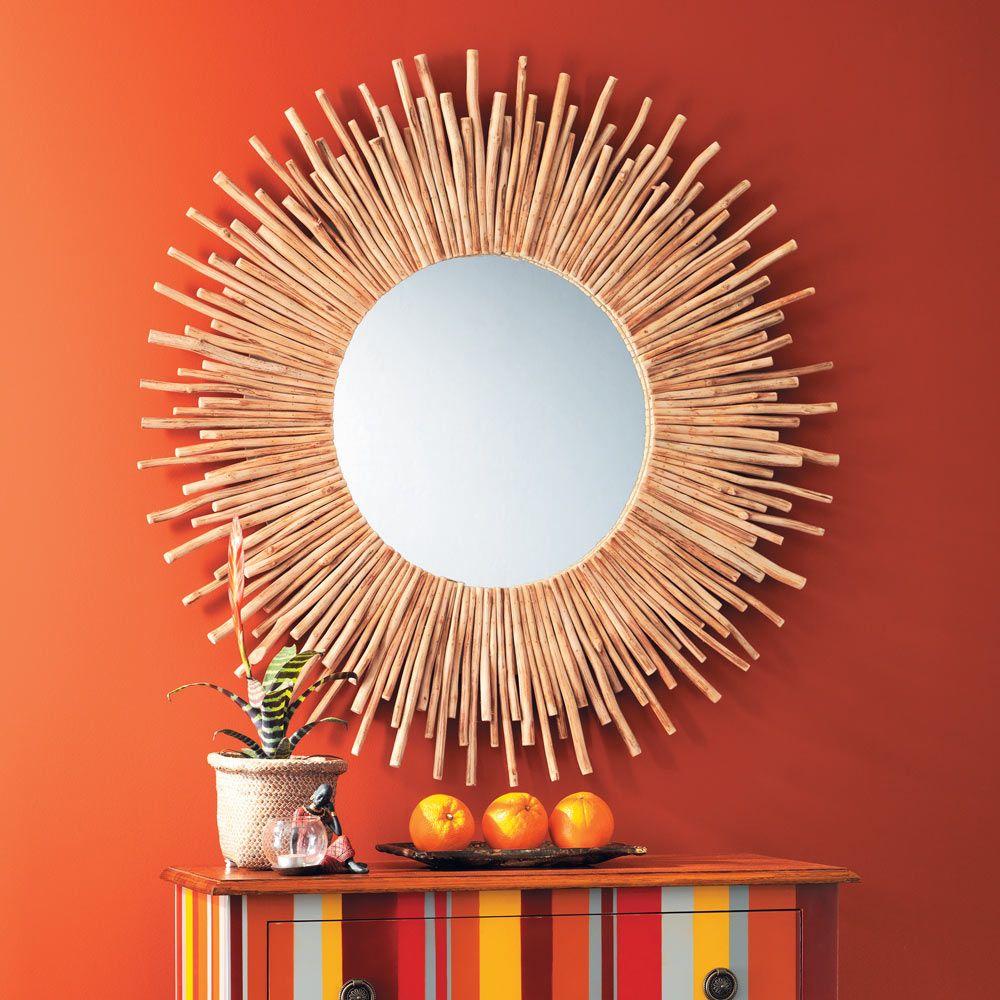 miroir rond en bois flott d 110 cm kampar maisons du. Black Bedroom Furniture Sets. Home Design Ideas
