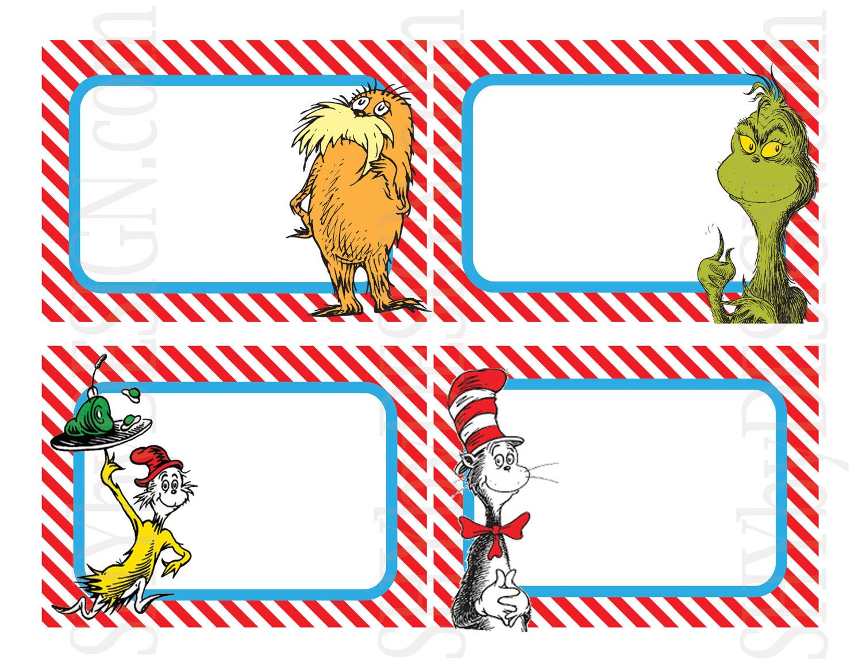 Set Of 12 Printable Dr Seuss Name Tags 5 00 Via Etsy