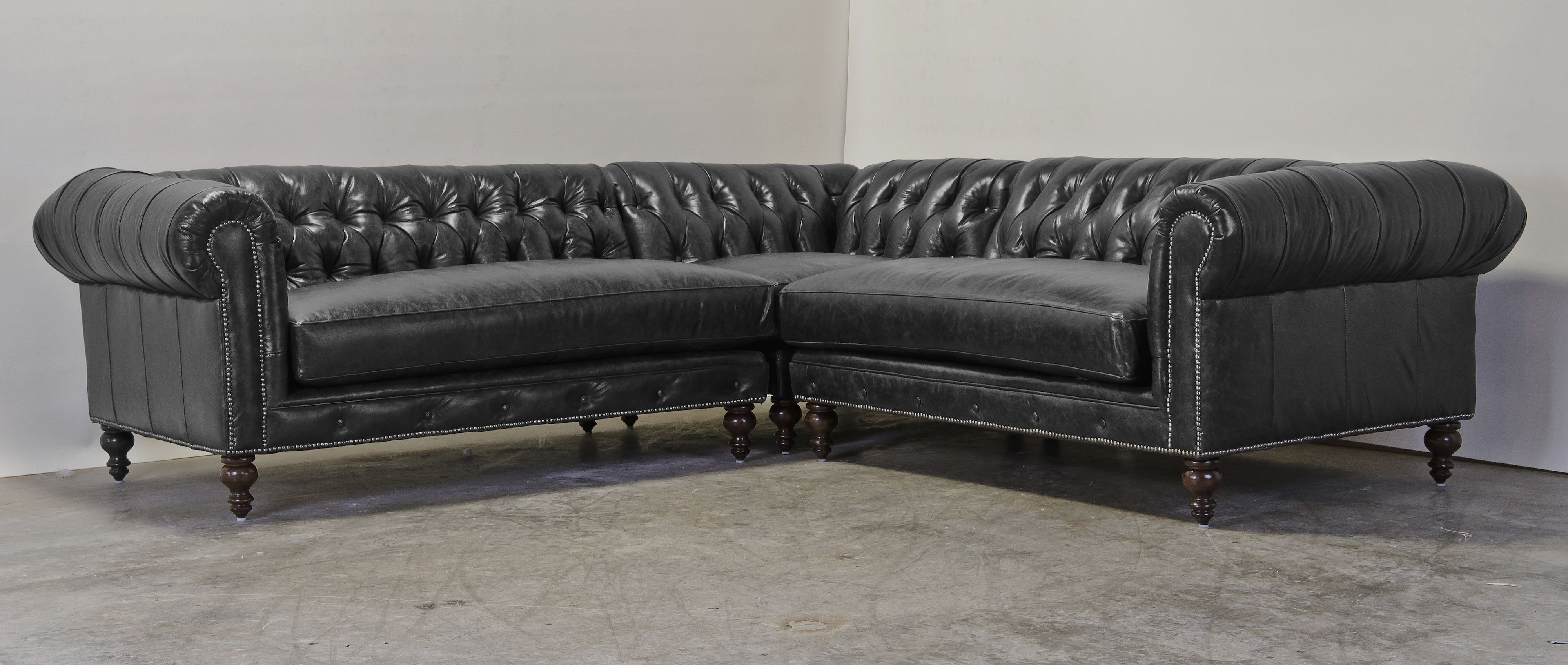 Chesterfield Sectional In Krystal Night Leather Corner Sofa