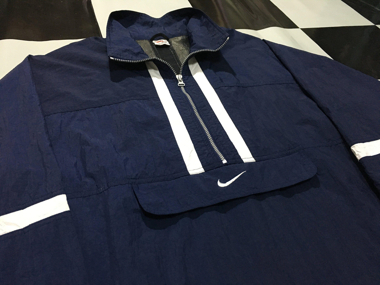 Vintage Nike Jacket Windbreaker Anorak Jacket Pullover Half Vintage Nike Jacket Nike Jacket Anorak Jacket