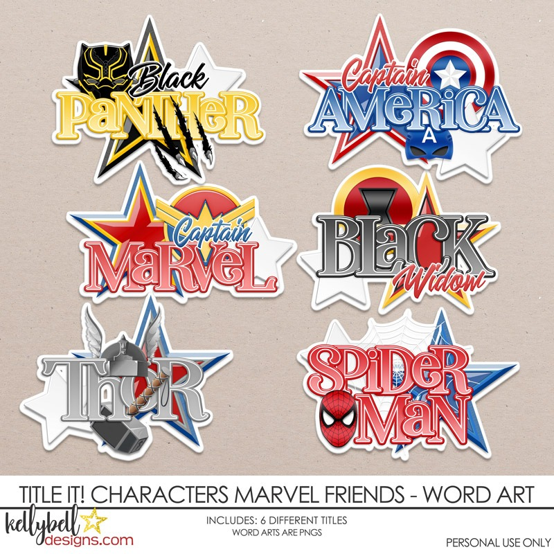 Title It Characters Marvel Friends Word Art Word Art Disney Scrapbook Marvel