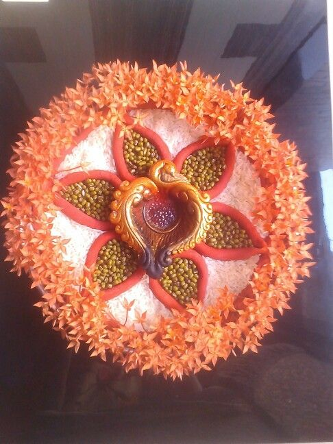 Aarti thali decoration my designs pinterest for Aarti thali decoration with pulses