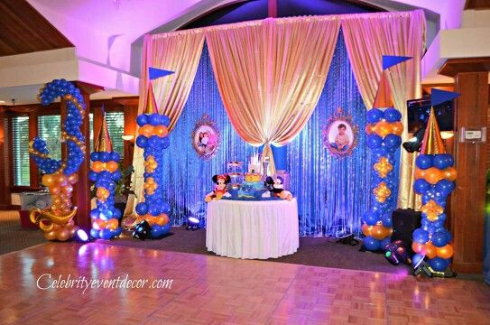 3rd Birthday Royal Blue And Gold Cake Table Decorations Cake Table Decorations Gold Cake Table Balloon Decorations