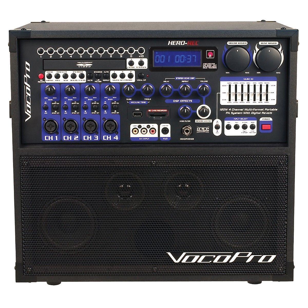 VocoProHERO-REC Multi-Format Portable P.A. Karaoke System w/ Digital Recorder