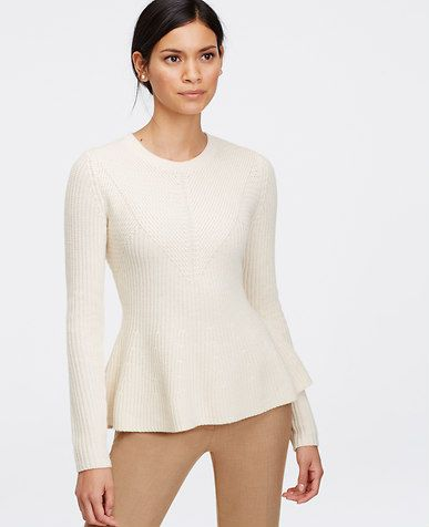Stitchy Peplum Sweater from Ann Taylor | Tops | Pinterest | Peplum ...