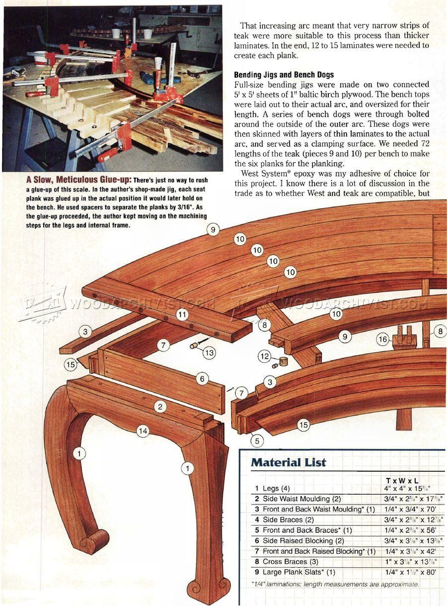 #659 Asian Garden Bench Plans   Outdoor Furniture Plans