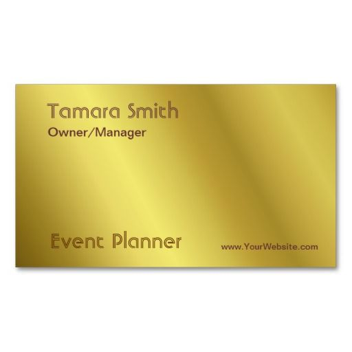Gold And Yellow Stripes Event Planner Business Card Template