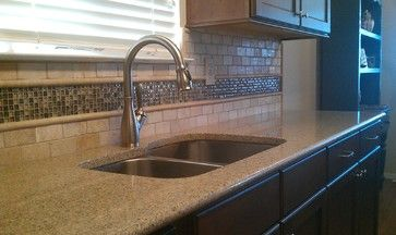 Kitchen Backsplash - Travertine Sub-Way / Liner and Glass Mosaic - traditional - kitchen - austin - Custom Surface Solutions