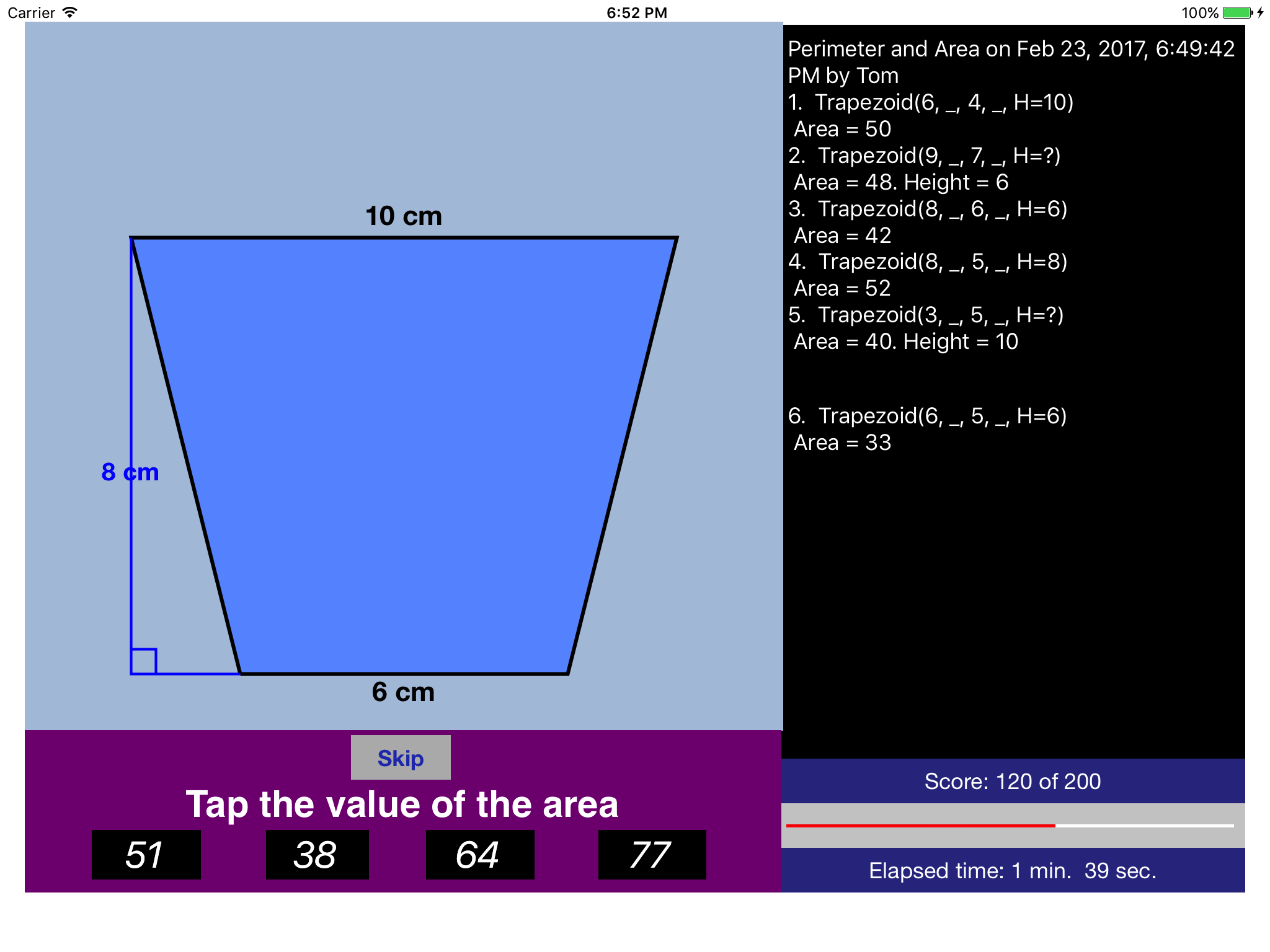 The Ipad App Perimeter Amp Area Provides Quizzes For