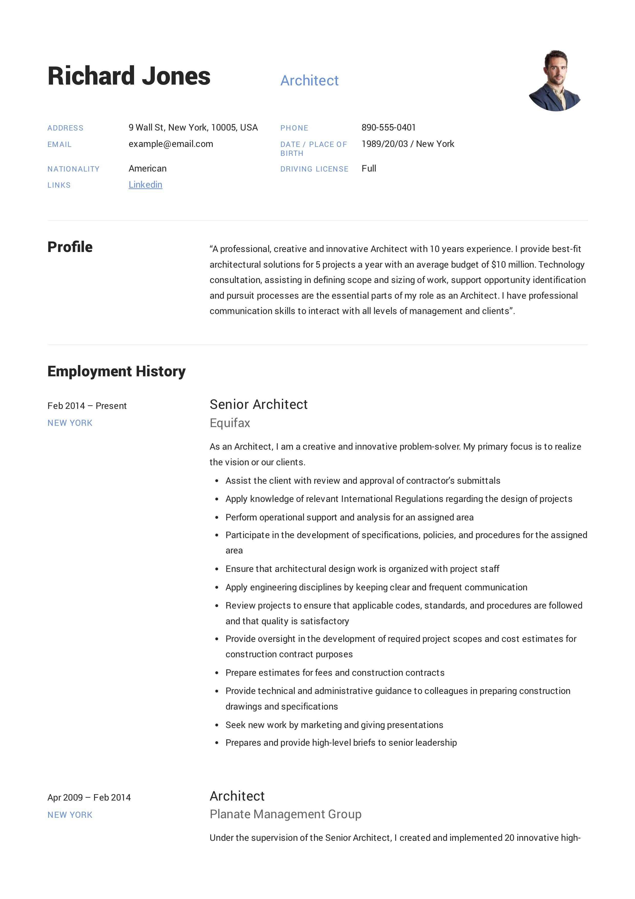 Architect resume example architect resume teacher