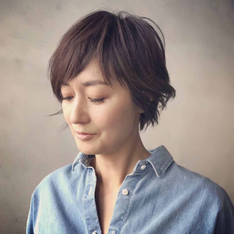 富岡佳子private Life ヘア 短い髪のためのヘアスタイル ヘア