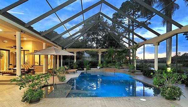 Best Indoor Swimming Pools Collection Providing Clear Inspirations:  Transparent Wall And Retractable Roofing Designed To Complete Screened Indoor  Pool With ...