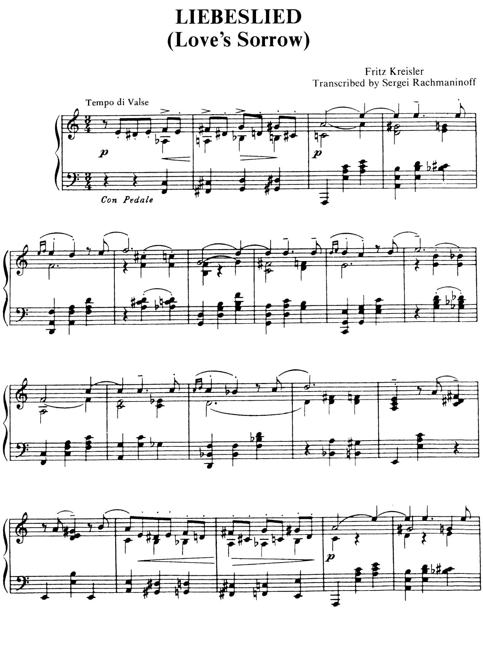 Rachmaninoff/Kreisler: Liebesleid   Sheet Music in 2019