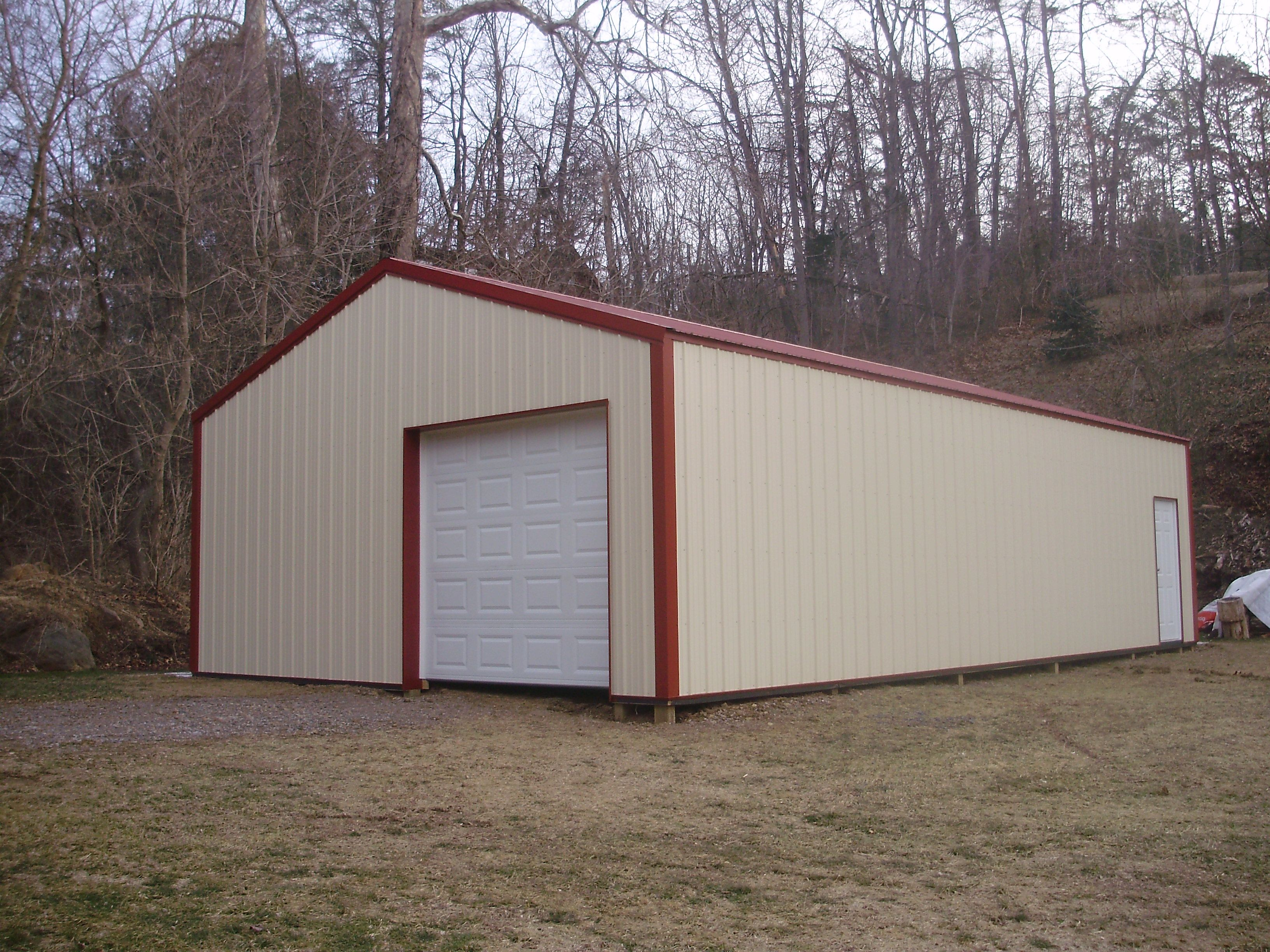 24 W X 40 L X 10 H Pioneer Pole Buildings Garage Beige With Red Roof And Trim Pole
