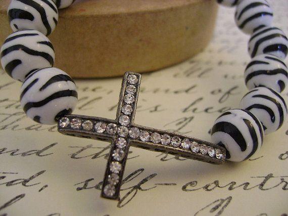 Pave Crystal Gunmetal Sideways Cross Bracelet $21.00